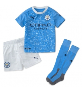 Manchester City home kids football shirt with shorts and socks