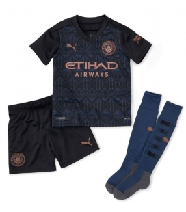 Manchester City away kids football shirt with shorts and socks